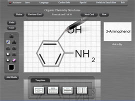 Use Flash My Brain's graphical editor to add graphics to your flash cards, such as molecular structures for chemistry.