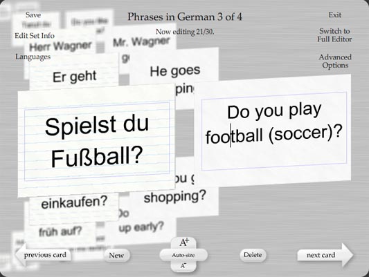It's easy to make and edit German flash cards with Flash My Brain.